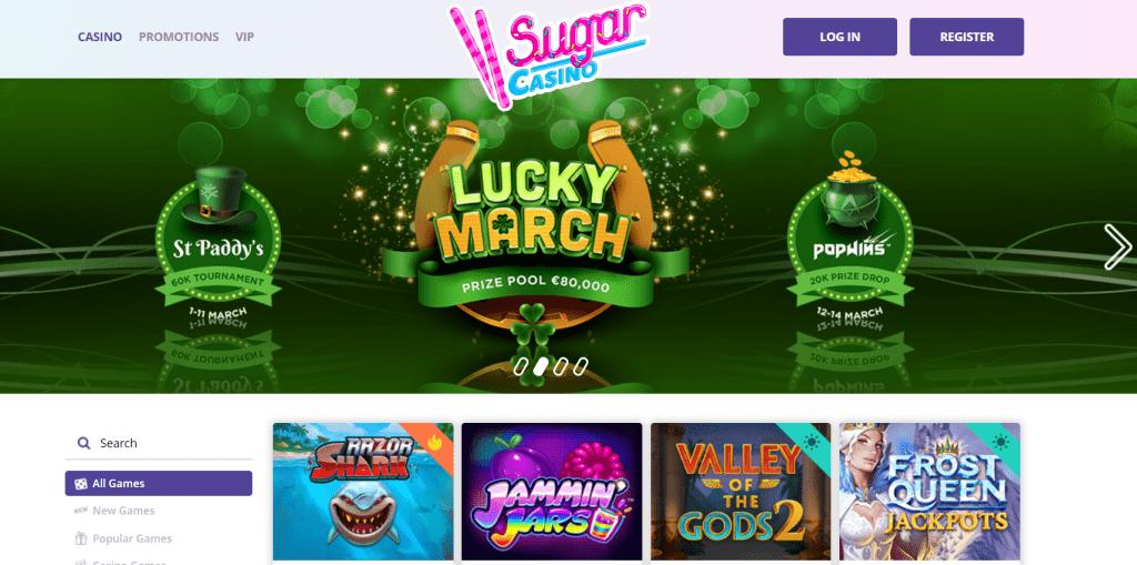 Sugar Casino Front page