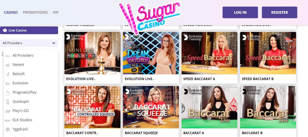 Live Casino on Sugar Casino