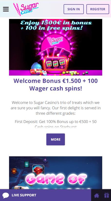 Sugar Casino Casino on mobile