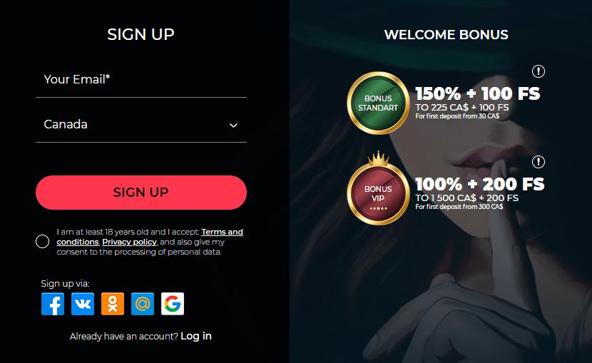 Vesper Casino registration